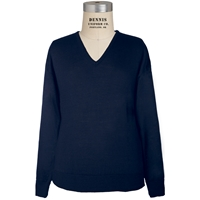 Navy V-Neck Pullover Sweater with School Logo