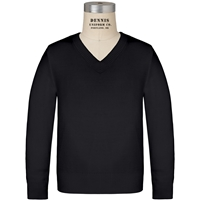 Black Long Sleeve V-Neck Pull Over with School Logo