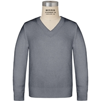 Heather Grey Long Sleeve V-Neck Pull Over with School Logo