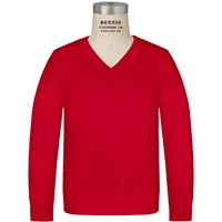 Red Long Sleeve V-Neck Pull Over with School Logo