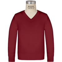 Cardinal V-Neck Pullover Sweater with School Logo