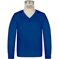 Mayfair Blue Long Sleeve V-Neck Pull Over with School Logo