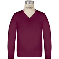 Wine Long Sleeve V-Neck Pull Over with School logo
