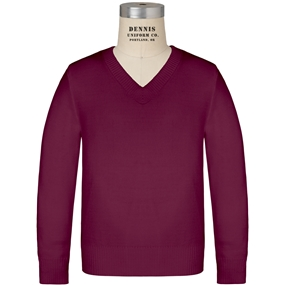 Wine V-Neck Pullover Sweater