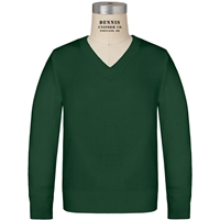 Green V-Neck Pullover Sweater with School Logo
