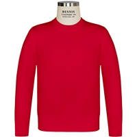 Red Crew Neck Pullover Sweater with School Logo