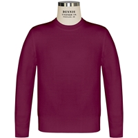 Wine Crew Neck Pullover Sweater with School Logo