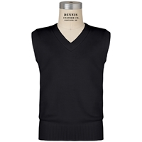 Black V-Neck Sweater Vest with School Logo