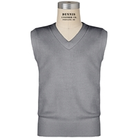 Heather Grey V-Neck Pull Over Vest with School Logo