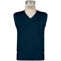 Navy V-Neck Pull Over Vest with School Logo