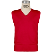 Red V-Neck Sweater Vest with School Logo
