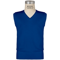 Mayfair Blue V-Neck Sweater Vest with School Logo