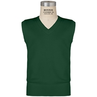 Green V-Neck Sweater Vest with School Logo