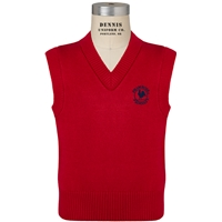 Red V-Neck Sweater Vest with Primrose logo