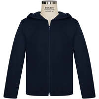 Navy Hooded Zip-Up Cardigan Sweater with School logo