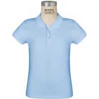 Light Blue Short Sleeve Girls Jersey Polo with School Logo