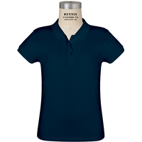 Navy Short Sleeve Feminine Fit Jersey Polo with School logo