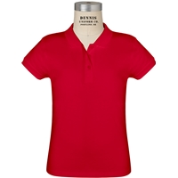 Red Short Sleeve Feminine Fit Jersey Polo with School logo