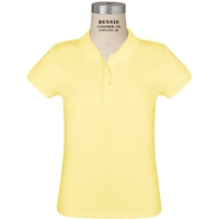 Yellow Short Sleeve Feminine Fit Jersey Polo with School logo