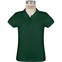 Green Short Sleeve Feminine Fit Jersey Polo with School logo