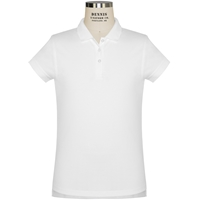 White Short Sleeve Feminine Fit Jersey Polo with School logo
