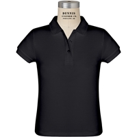 Black Short Sleeve Girls Pique Polo with School Logo
