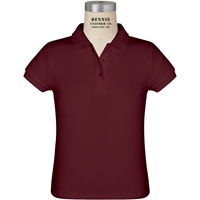 Maroon Short Sleeve Feminine Fit Pique Polo with School Logo