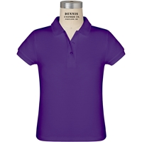 Purple Short Sleeve Girls Pique Polo with School Logo