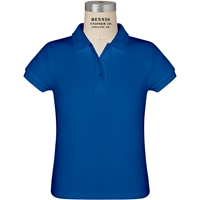Royal Short Sleeve Girls Pique Polo with School Logo
