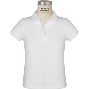 White Short Sleeve Girls Pique Polo