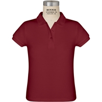 Cardinal Short Sleeve Girls Pique Polo with School Logo