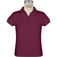 Wine Short Sleeve Girls Pique Polo with School Logo