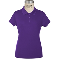 Purple Short Sleeve Girls Performance Polo with School logo