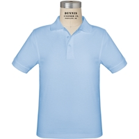 Light Blue Short Sleeve Jersey Polo with School Logo