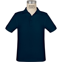 Navy Short Sleeve Jersey Polo with School logo