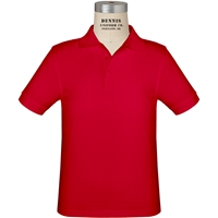 Red Short Sleeve Jersey Polo with School Logo