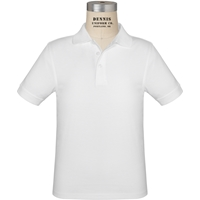 White Short Sleeve Jersey Polo with School Logo