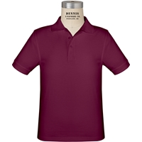 Wine Short Sleeve Jersey Polo with School logo
