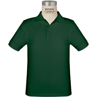 Green Short Sleeve Jersey Polo with School Logo