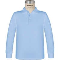 Light Blue Long Sleeve Jersey Polo with School logo