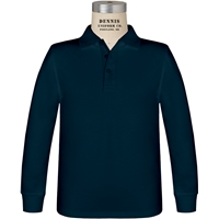 Navy Long Sleeve Jersey Polo with School logo