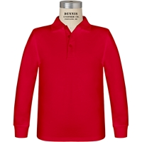 Red Long Sleeve Jersey Polo with School Logo