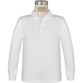 White Long Sleeve Jersey Polo
