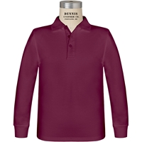 Wine Long Sleeve Jersey Polo with School Logo