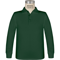 Green Long Sleeve Jersey Polo with School logo