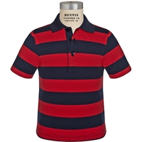 Navy & Red Stripe Short Sleeve Rugby Jersey Polo with School logo
