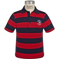 Navy & Red Stripe Short Sleeve Rugby Jersey Polo with Primrose logo