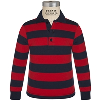 Navy & Red Stripe Long Sleeve Rugby Jersey Polo with School Logo