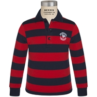 Navy & Red Stripe Long Sleeve Rugby Jersey Polo with Primrose logo