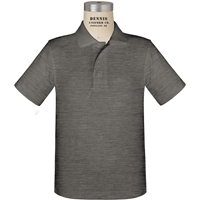 Storm Grey Short Sleeve Performance Polo with School logo